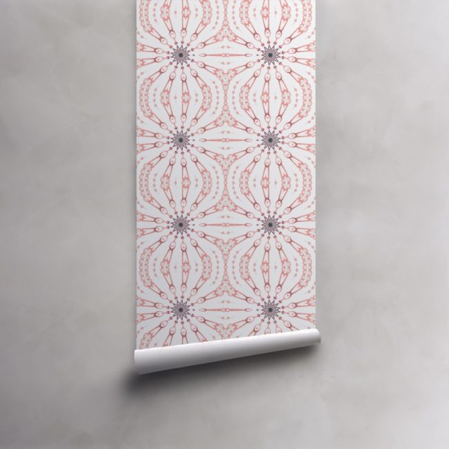 Roll of pink, grey and white wallpaper on pre-pasted standard paper. Design - Fern by Pearl and Maude