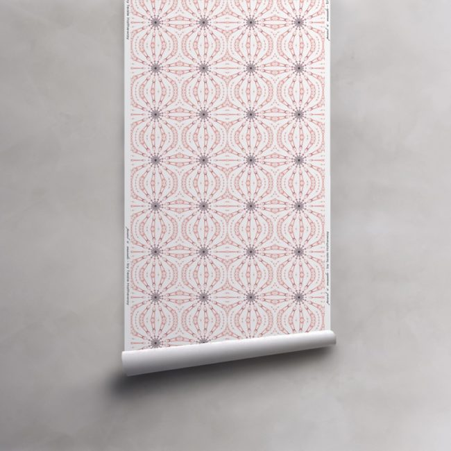 Roll of pink, grey and white wallpaper on non-woven vellum. Design - Fern by Pearl and Maude