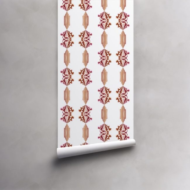 Roll of red, gold and white wallpaper on standard paper. Design - Charlie by Pearl and Maude