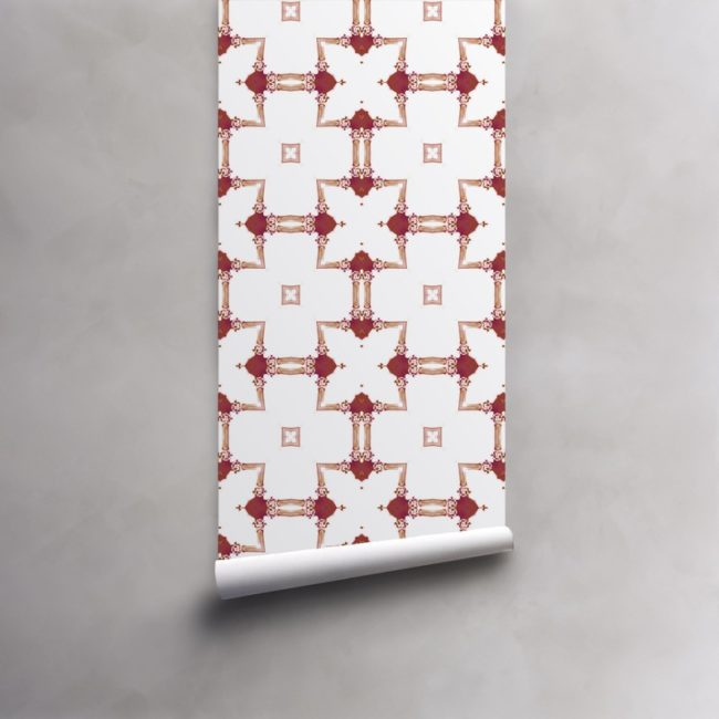 Roll of red and white wallpaper on pre-pasted standard paper. Design - Dido by Pearl and Maude