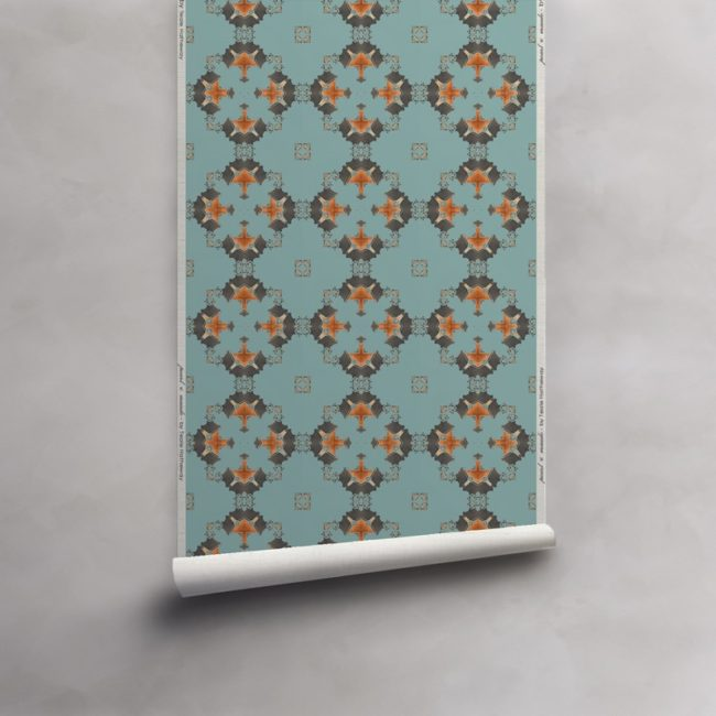 Roll of robin's egg blue, grey and copper wallpaper on luxurious grasscloth wallcovering. Design - Eva by Pearl and Maude