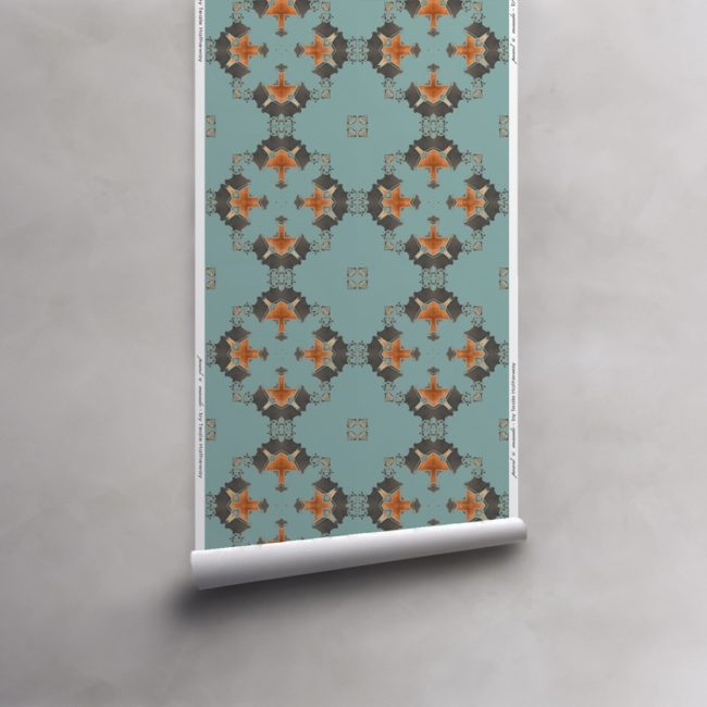Roll of robin's egg blue, grey and copper wallpaper on non-woven vellum. Design - Eva by Pearl and Maude