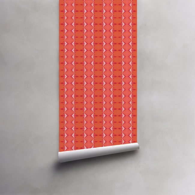 Roll of coral, orange and fuchsia striped wallpaper on pre-pasted standard roll. Design - Evelyn by Pearl and Maude