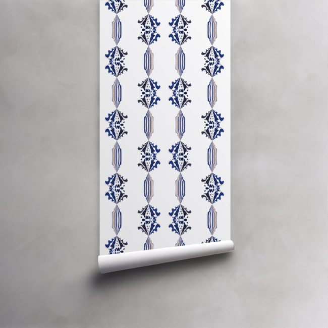 Roll of blue, gold and white wallpaper on standard paper. Design - Charlie by Pearl and Maude