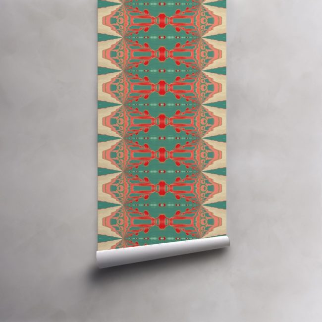 Roll of turquoise, red, peach, taupe wallpaper on standard pre-pasted paper. Design - Itzel by Pearl and Maude