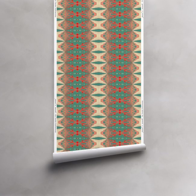 Roll of turquoise, red, peach, taupe wallpaper on vellum. Design - Itzel by Pearl and Maude