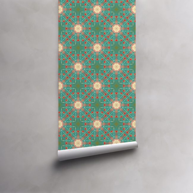 Roll of turquoise, green, red, peach wallpaper on standard pre-pasted paper. Design - Beaufort by Pearl and Maude