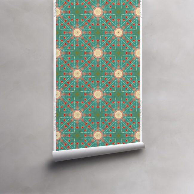 Roll of turquoise, green, red, peach wallpaper on vellum. Design - Beaufort by Pearl and Maude
