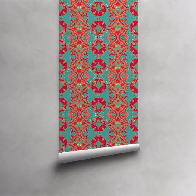 Roll of turquoise, red, fuchsia wallpaper on standard roll. Design - Morris by Pearl and Maude