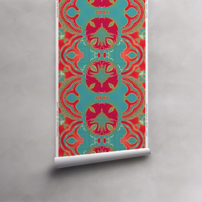 Roll of turquoise, red, fuchsia wallpaper on non-woven vellum. Design - Morris by Pearl and Maude