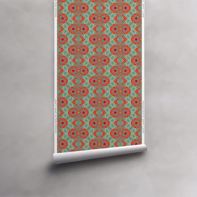 Roll of turquoise, red and coral wallpaper on non-woven vellum roll. Design - Carmen by Pearl and Maude
