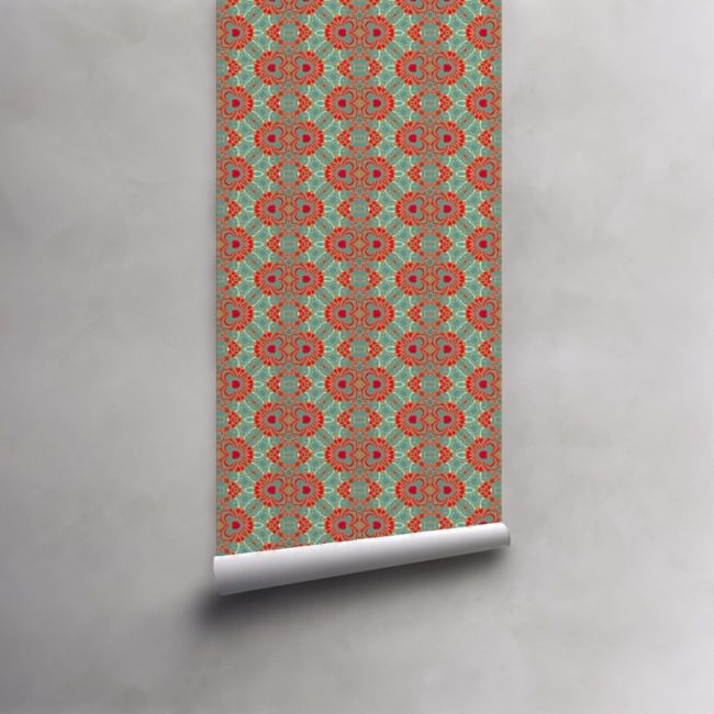 Roll of turquoise, red and coral wallpaper on pre-pasted standard roll. Design - Carmen by Pearl and Maude