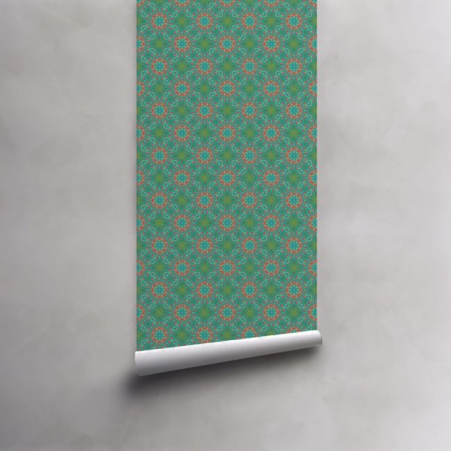 Roll of turquoise and coral wallpaper on pre-pasted standard roll. Design - Elton by Pearl and Maude