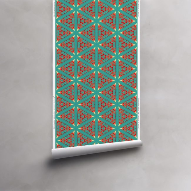 Roll of turquoise, red and coral wallpaper on non-woven vellum roll. Design - Bunsen by Pearl and Maude
