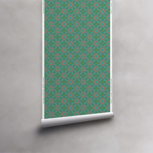 Roll of turquoise, green and coral wallpaper on vellum. Design - Elton by Pearl and Maude