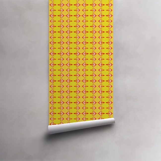 Roll of red and yellow striped wallpaper on pre-pasted standard roll. Design - Evelyn by Pearl and Maude