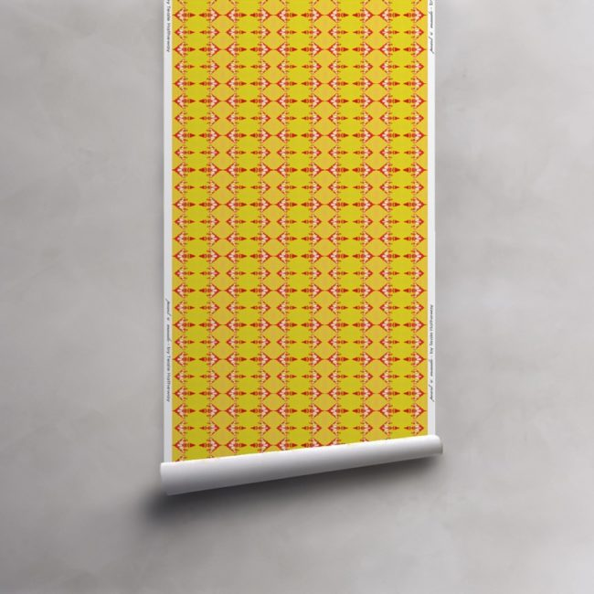 Roll of red and yellow striped wallpaper on vellum. Design - Evelyn by Pearl and Maude