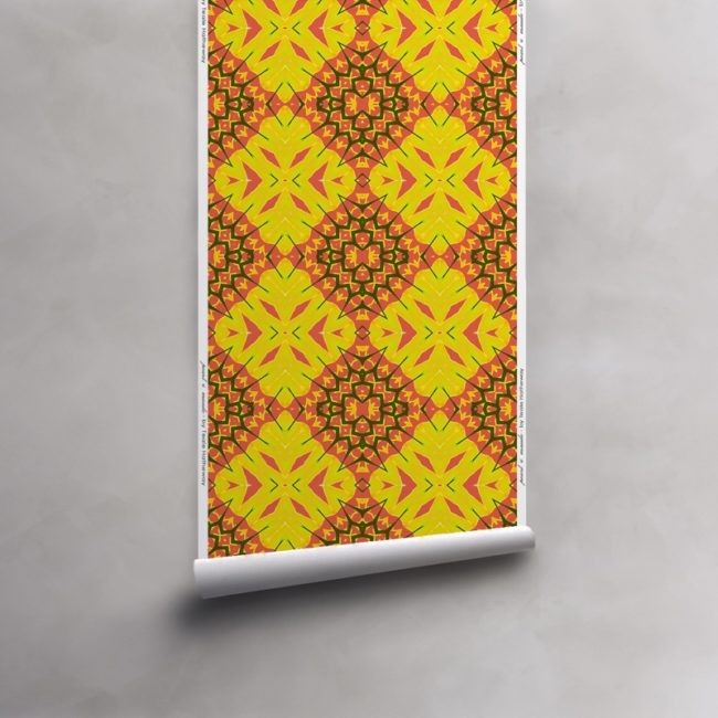 Roll of coral and yellow wallpaper on vellum. Design - Yellow Diamonds by Pearl and Maude
