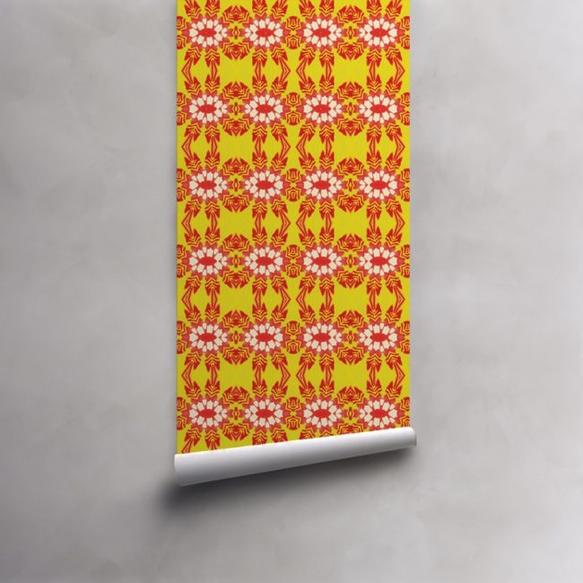 Roll of red and yellow wallpaper on pre-pasted standard roll. Design - Artemis by Pearl and Maude