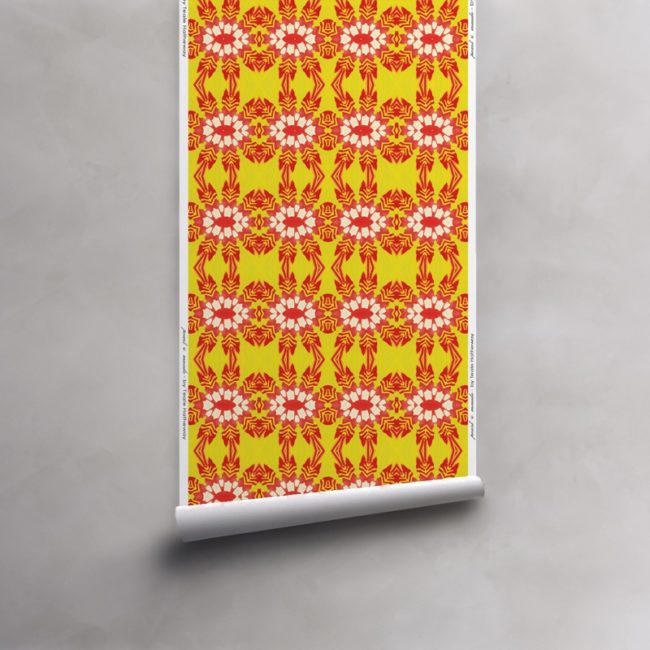 Roll of red and yellow wallpaper on vellum. Design - Artemis by Pearl and Maude
