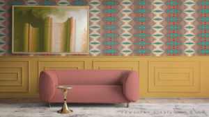 Wes Anderson Waiting Room with Pearl and Maude wallpaper and Teale Hatheway Painting Zoom Virtual Background Mirror