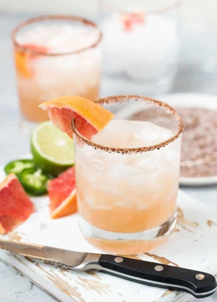 cool off with pretty and spicy jalapeno paloma cocktails