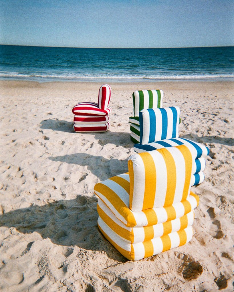 flexible, fun and colorfully striped outdoor furniture to beat the heat