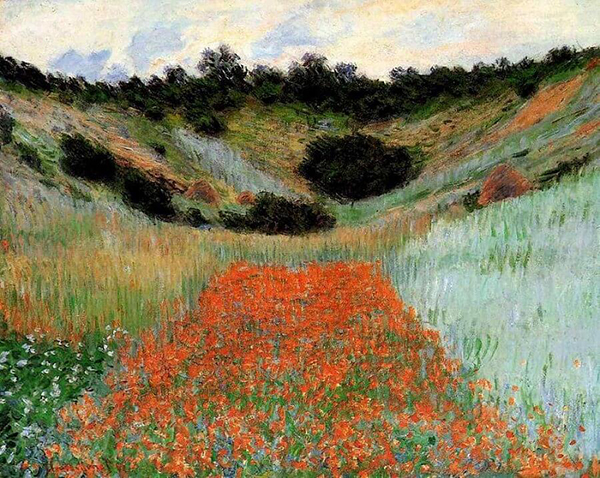 Peaceful Impressionist painting by Monet shows autumnal colors
