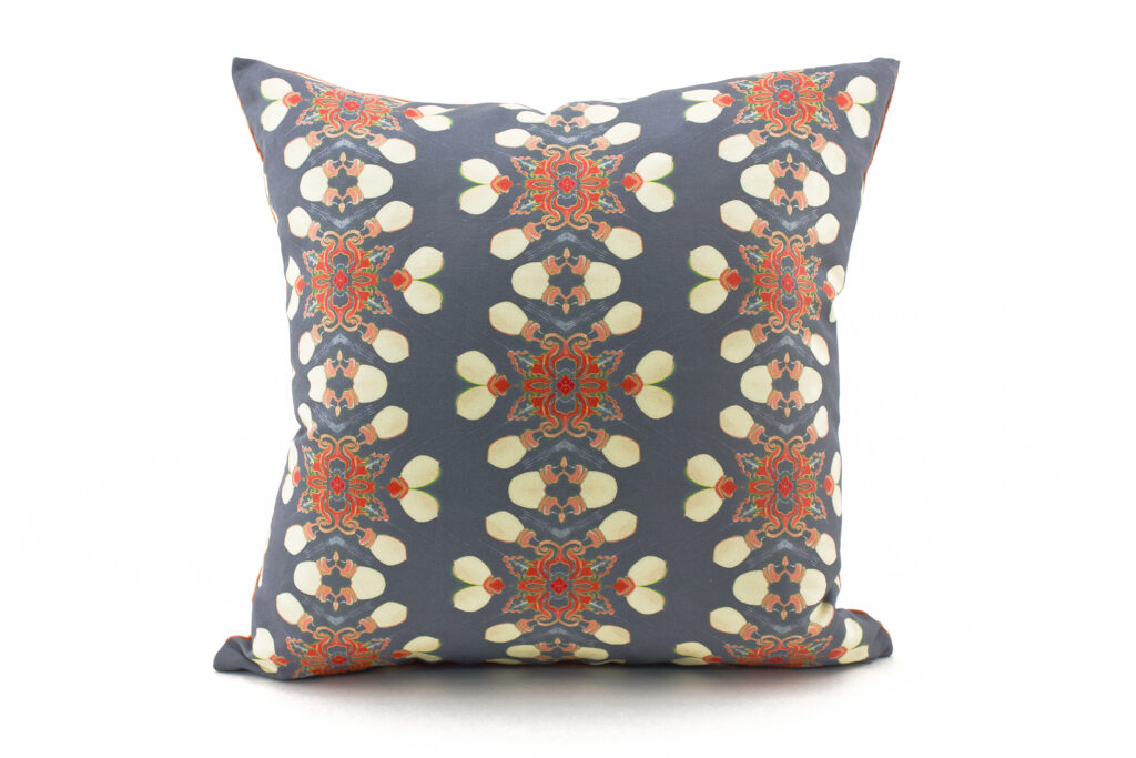 Arabella grey coral throw pillow patterned front