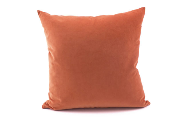 Arabella grey coral throw pillow velvet back