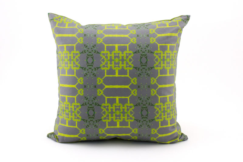 Arachen grey citron yellow throw pillow patterned front