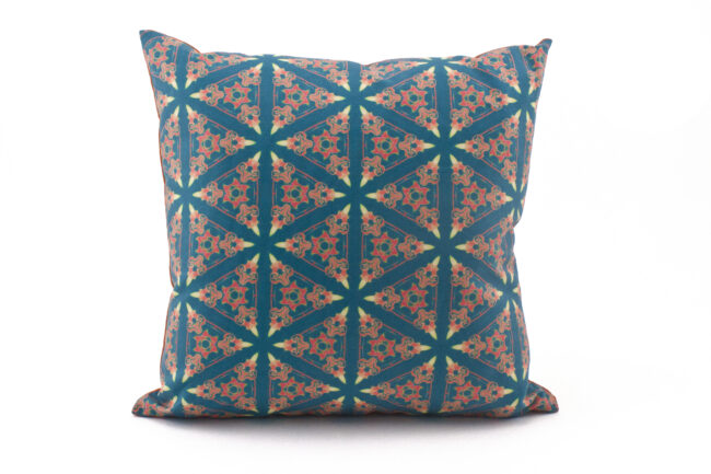 Bunsen blue coral throw pillow cover patterned front