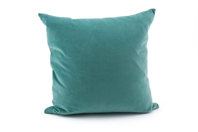 Carmen turquoise, coral throw pillow velvet back