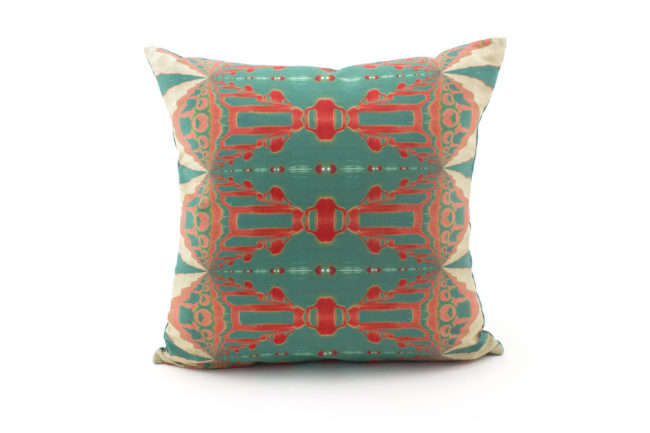 Itzel turquoise coral throw pillow patterned front