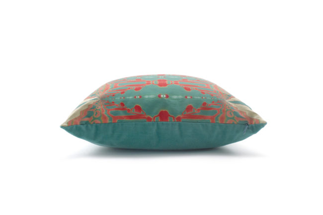 Itzel turquoise coral throw pillow side
