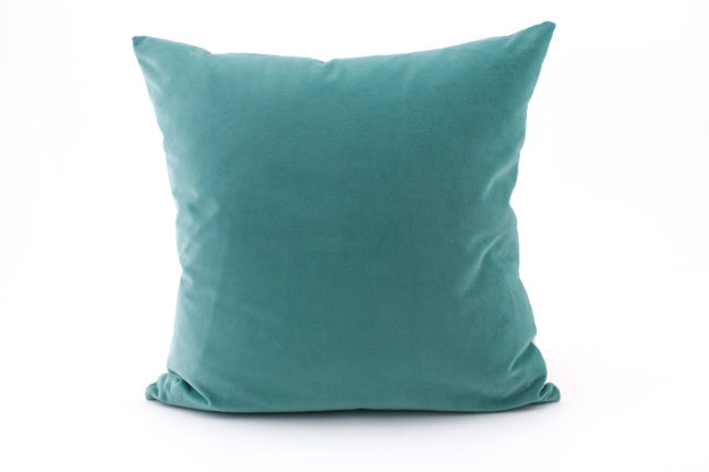 Itzel turquoise coral throw pillow velvet back