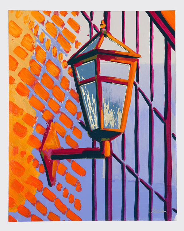 Fall open studios are happening virtually - this orange and blue painting of a light will be available.