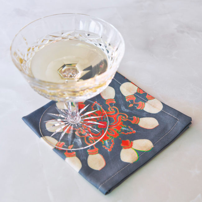arabella fabric cocktail napkin with champagne