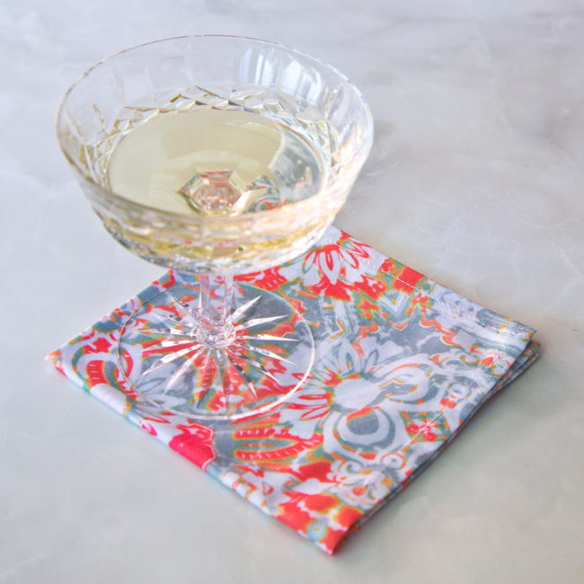 carmen fabric cocktail napkin set with champagne