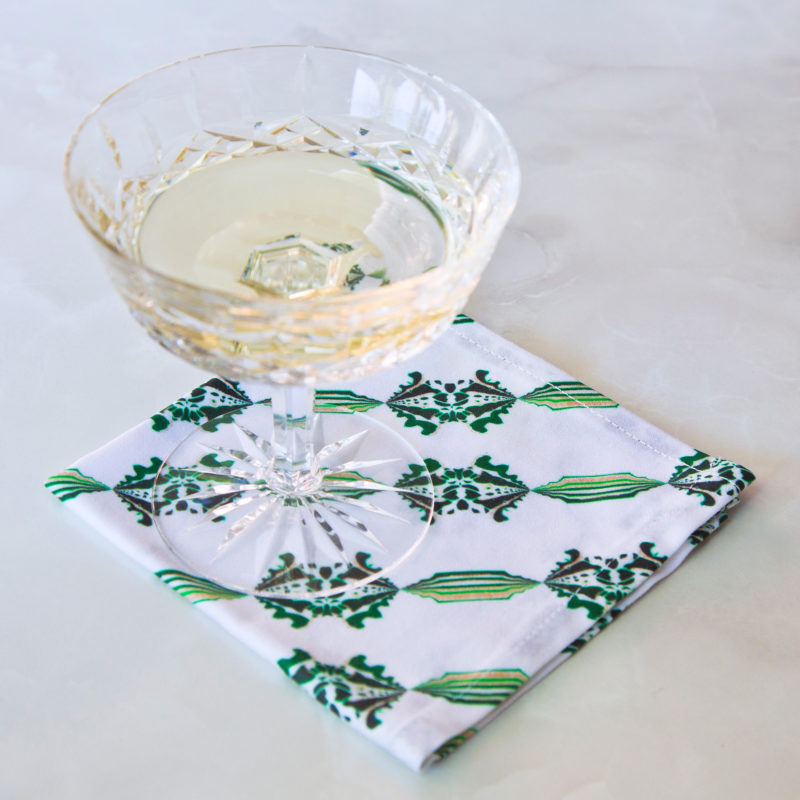 charlie fabric cocktail napkin with champagne