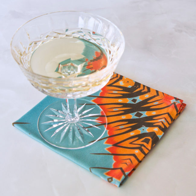 desert diamonds fabric cocktail napkin with champagne