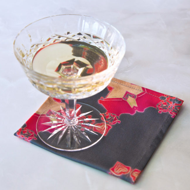 art deco fabric cocktail napkin set