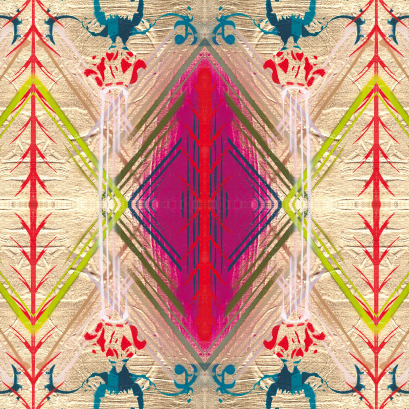 Fuchsia Diamond hand embellished print