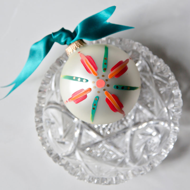 beautiful floral hand painted christmas ornament