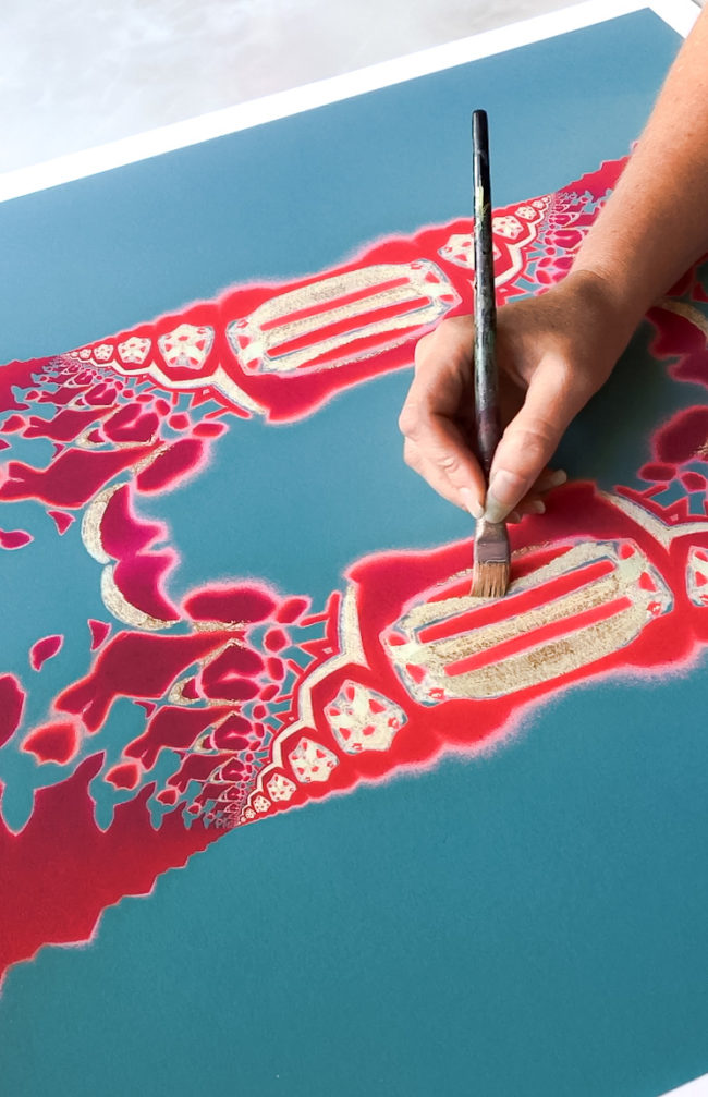 hand painting embellishments on a print