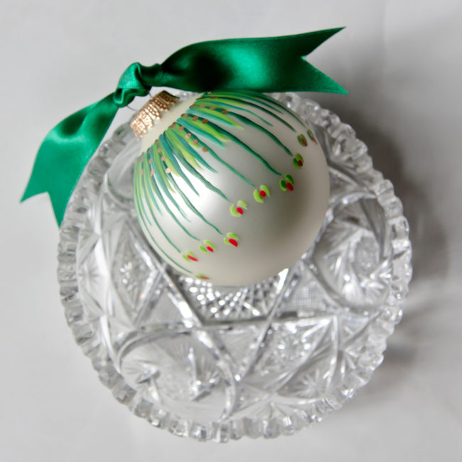 beautiful green hand painted christmas ornament