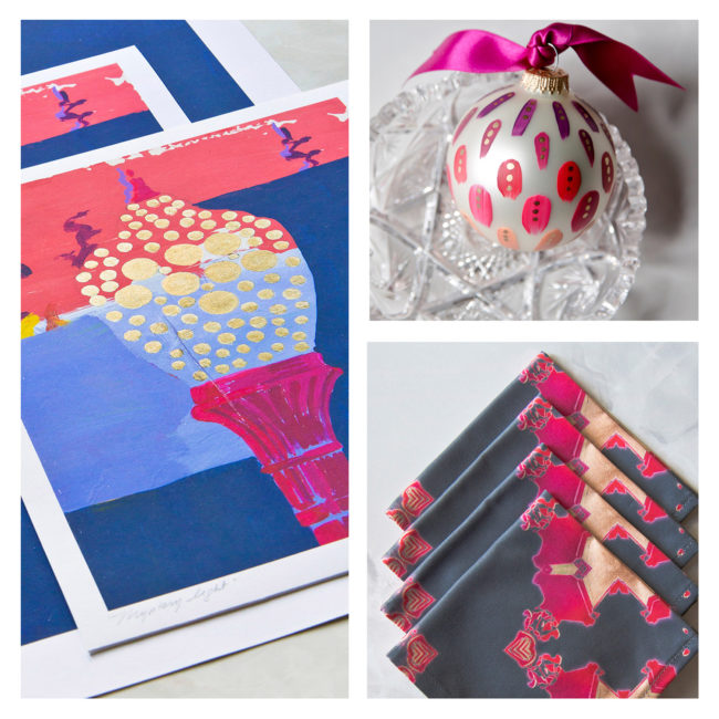 Magenta gift box with print, ornament and napkins