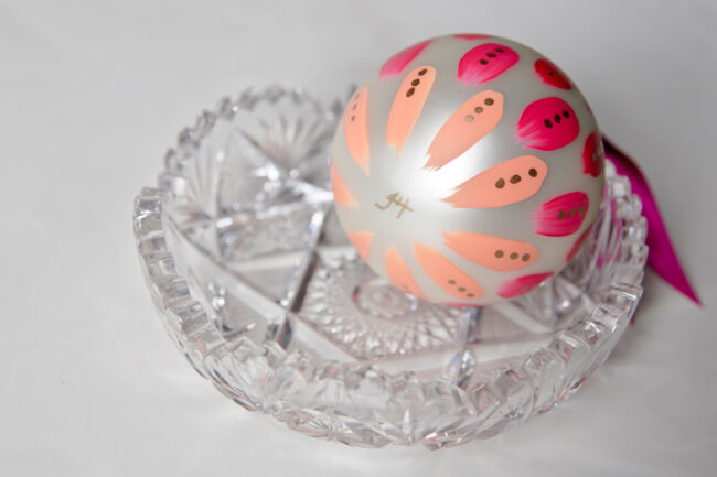 beautiful magenta hand painted christmas ornament signed by the artist