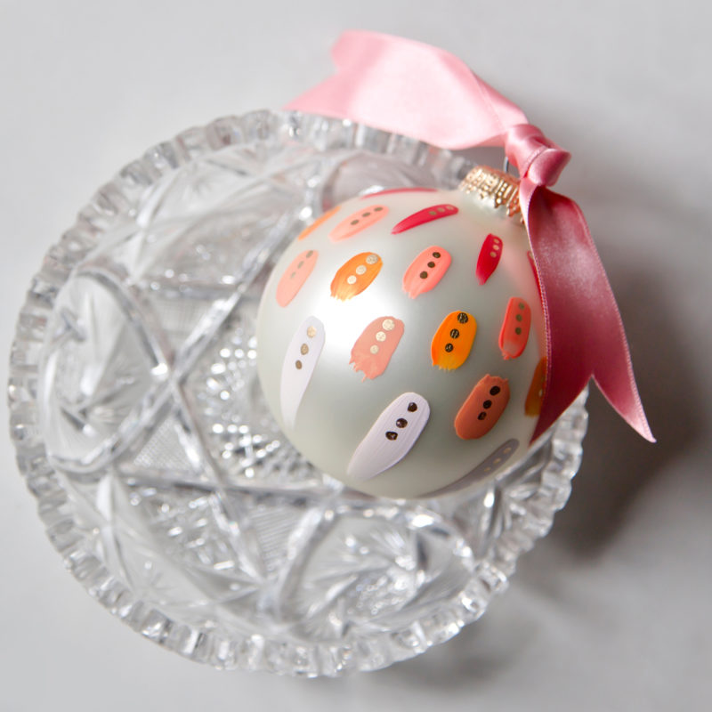 beautiful pink hand painted christmas ornament