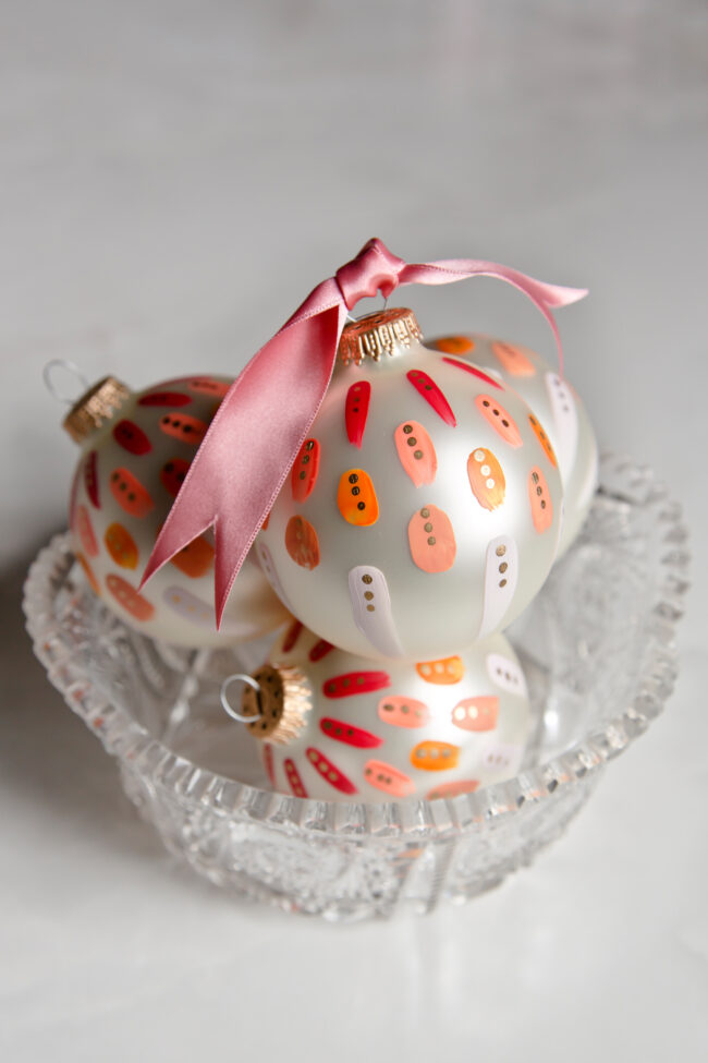 beautiful pink hand painted christmas ornament for colorful holiday decor